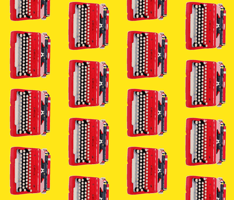 typewriter yellow background fabric by sandeeroyalty on Spoonflower - custom fabric