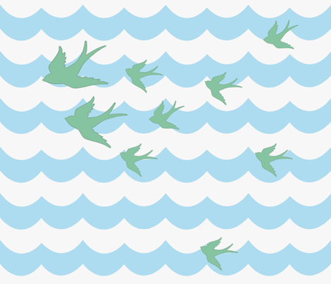 Ocean Flight, in Summer Sea fabric by sparrowsong on Spoonflower - custom fabric