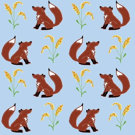 Fox and Goldenrod (Day) fabric by ravynscache on Spoonflower - custom fabric