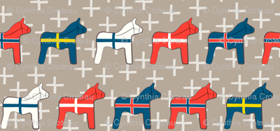 Scandinavian wooden Dala horses