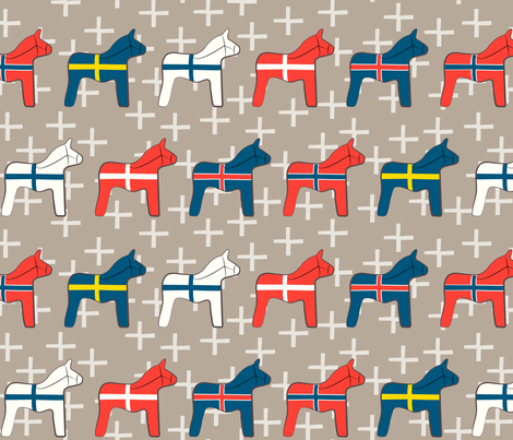 Scandinavian wooden Dala horses fabric by seabluestudio on Spoonflower - custom fabric