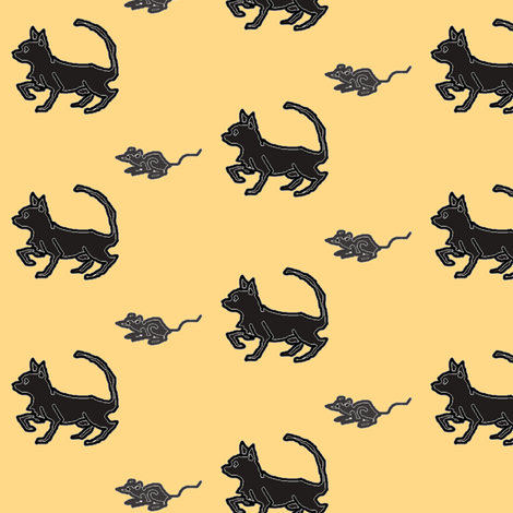 Cat and Mouse fabric by ravynscache on Spoonflower - custom fabric