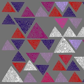 Patterned triangles - red, purple, lilac, pink, white on grey