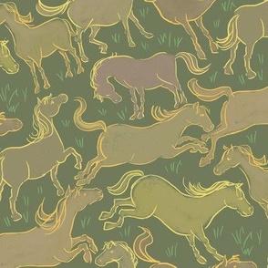 Romping Horses 3 Green