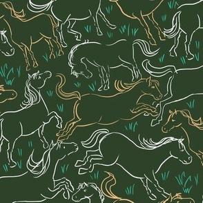 Romping Horses 6 Dark Green