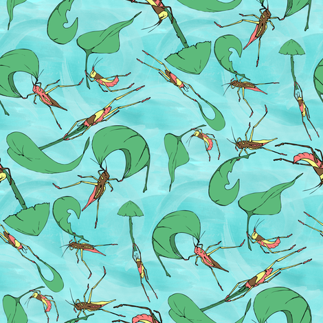 The Happy Windy Crickets Watercolor fabric by audsbodkin on Spoonflower - custom fabric