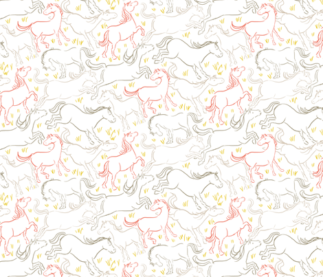 Romping Horses 7 White Coral Gray fabric by vinpauld on Spoonflower - custom fabric
