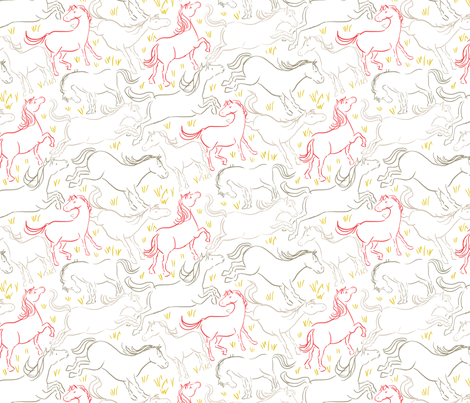 Romping Horses 7 White Red Gray fabric by vinpauld on Spoonflower - custom fabric