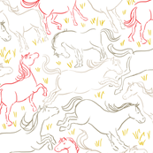 Romping Horses 7 White Red Gray