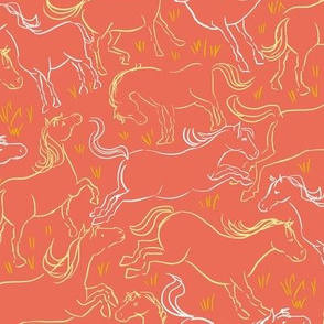 Romping Horses 8 Coral and White