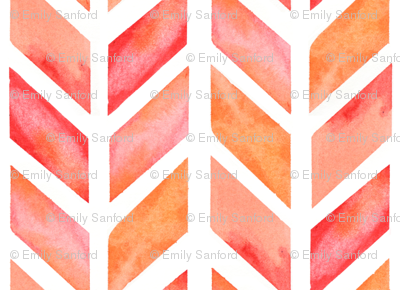 Watercolor Herringbone in Solid Pinks