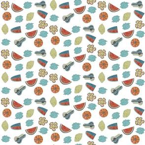 Small Mosaic Fruit on White