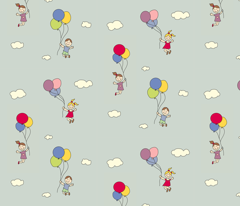 Balloon Fun Pastel fabric by anikabee on Spoonflower - custom fabric