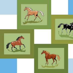 4_horse_patch_framed_blue_white_shadows