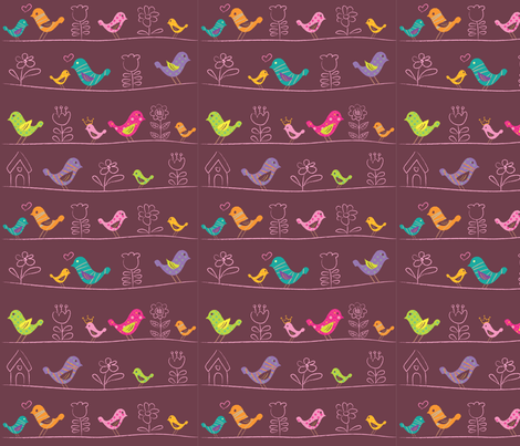 Happy bird fabric by rachelee_design on Spoonflower - custom fabric