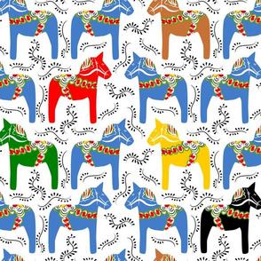dala horses - multicolor