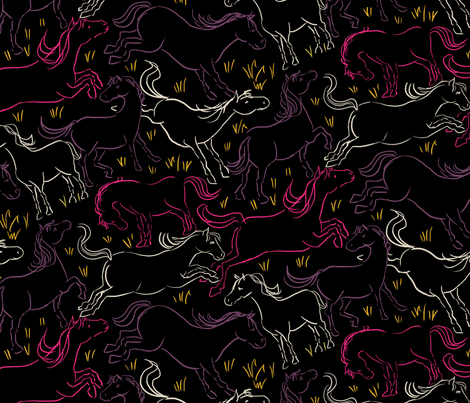Romping Horses 10 Black Large fabric by vinpauld on Spoonflower - custom fabric