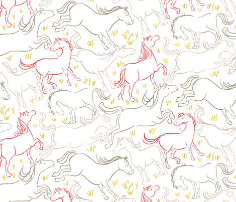 Romping Horses 7 Large Version fabric by vinpauld on Spoonflower - custom fabric
