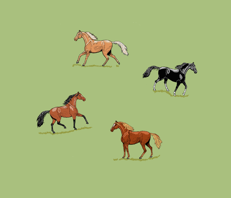 fq_s_horses_ink_mint___grass_E fabric by khowardquilts on Spoonflower - custom fabric