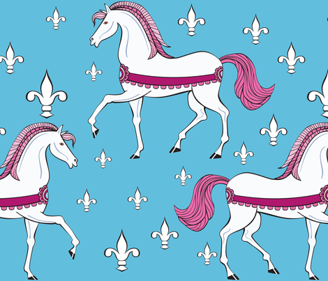 White horses fabric by ksanask on Spoonflower - custom fabric