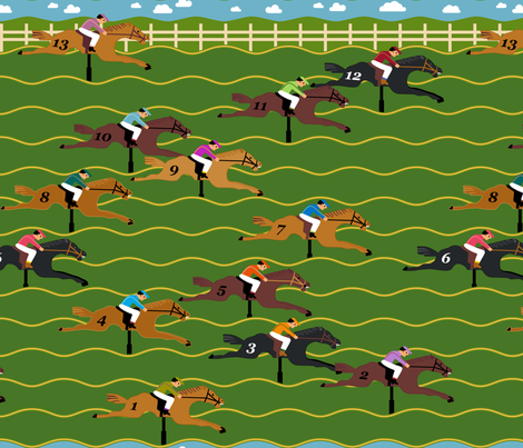 Horse Derby Arcade fabric by mariafaithgarcia on Spoonflower - custom fabric