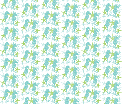 Double Seahorse vertical fabric by stonybrookdesign on Spoonflower - custom fabric