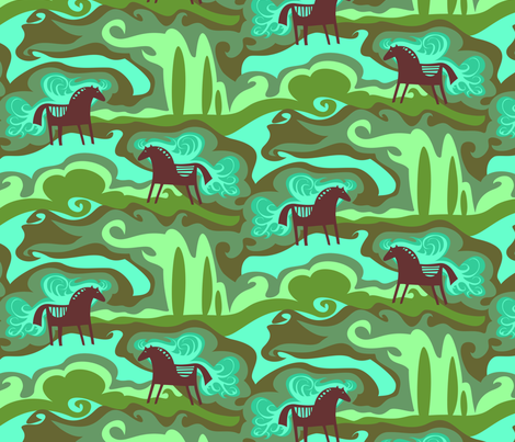 Dreaming Horses fabric by loffloff on Spoonflower - custom fabric