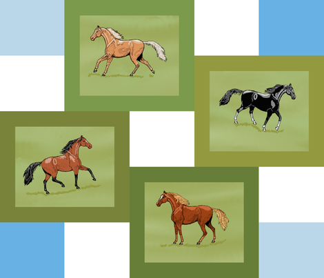 4_horse_patch_framed_blue_white_grass_4_fade_edit fabric by khowardquilts on Spoonflower - custom fabric