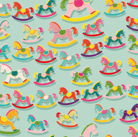 Rocking horses  fabric by cassiopee on Spoonflower - custom fabric