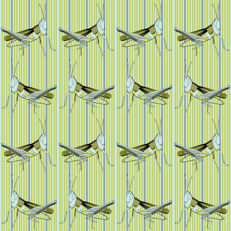 grasshopper on stripes fabric by susiprint on Spoonflower - custom fabric