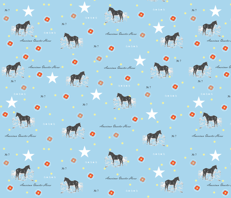 Aqua_Horse_Print fabric by vintagegypsy on Spoonflower - custom fabric