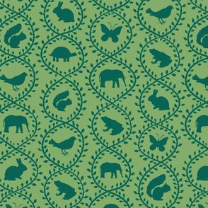 Animal Vines pattern, apple green colorway