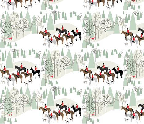 Run Fox Run!_on White fabric by robinpickens on Spoonflower - custom fabric