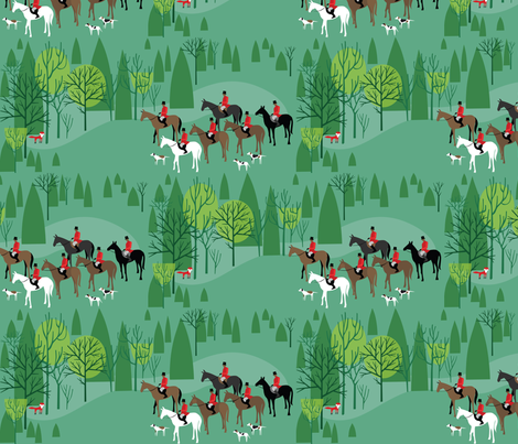 Run Fox Run! onGreen fabric by robinpickens on Spoonflower - custom fabric