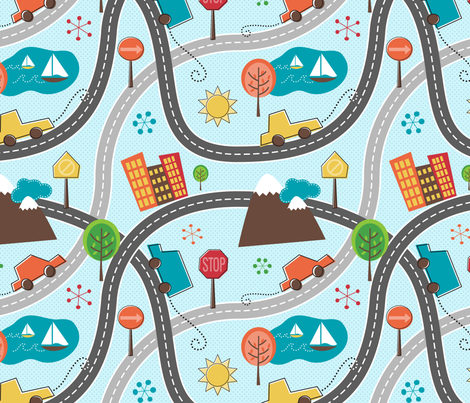 Retro Road Trip (Collection) fabric by happyprintsshop on Spoonflower - custom fabric