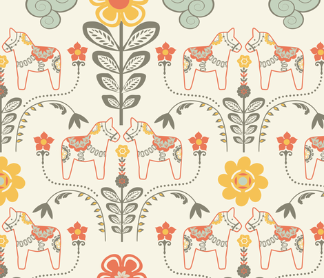 dala_horse_pastel_L fabric by nadja_petremand on Spoonflower - custom fabric