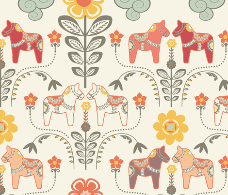 """dala horse paste multico L"" fabric by nadja_petremand on Spoonflower - custom fabric"