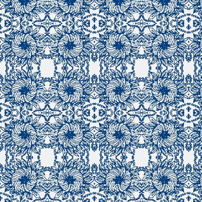 Spagetti Flowers/Navy/white