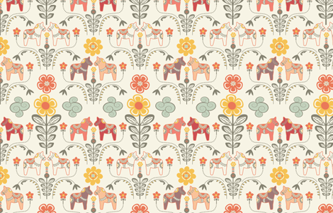 """dala horse paste multico M"" fabric by nadja_petremand on Spoonflower - custom fabric"