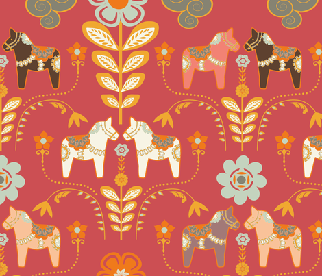 dala_horse_paste_multico rouge_L  fabric by nadja_petremand on Spoonflower - custom fabric