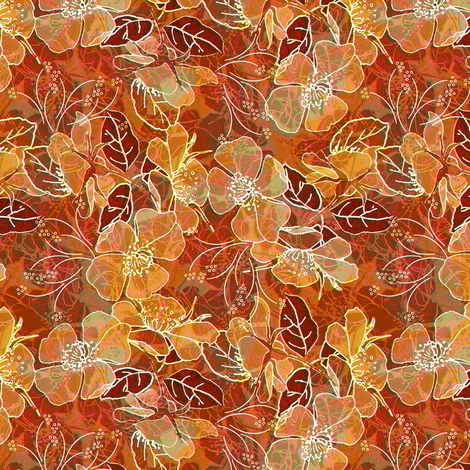 Wild Rose on spice fabric by joanmclemore on Spoonflower - custom fabric