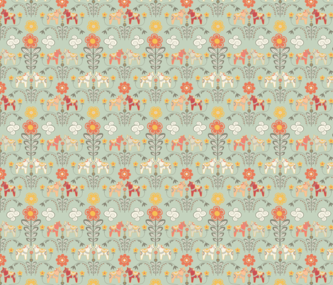 dala_horse_paste multico_vert_S fabric by nadja_petremand on Spoonflower - custom fabric
