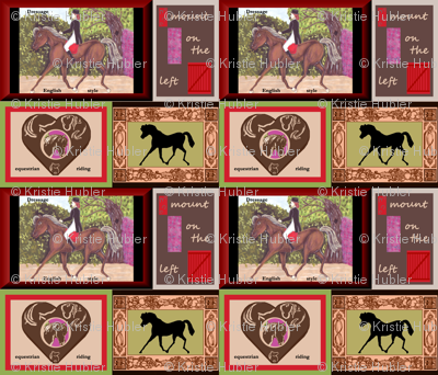 Dressage Horse Fabric by Kristie Hubler