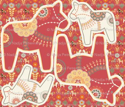 coussin_dala_horse_rouge