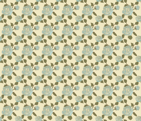 Mary_Ann_Kilraine_Rose Aqua fabric by lana_gordon_rast_ on Spoonflower - custom fabric