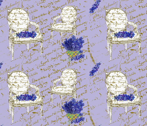 Delphinium on two french chairs fabric by karenharveycox on Spoonflower - custom fabric