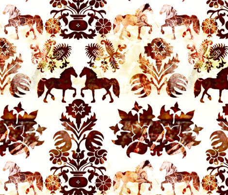 horse damask fabric by kociara on Spoonflower - custom fabric