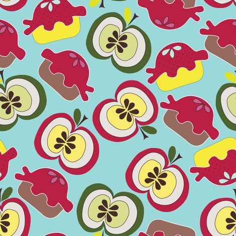 Pies and Apples Dark Turquoise Blue fabric by luhaddad on Spoonflower - custom fabric