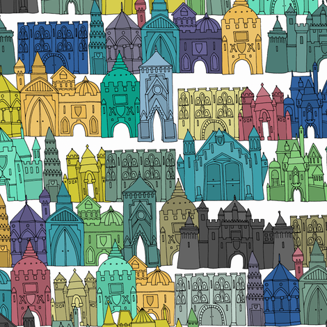 castle avenue day (small) fabric by scrummy on Spoonflower - custom fabric