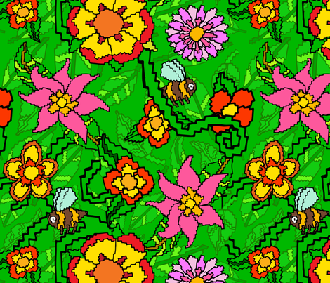 8-Bit Pixel Garden fabric by antonybriggs on Spoonflower - custom fabric